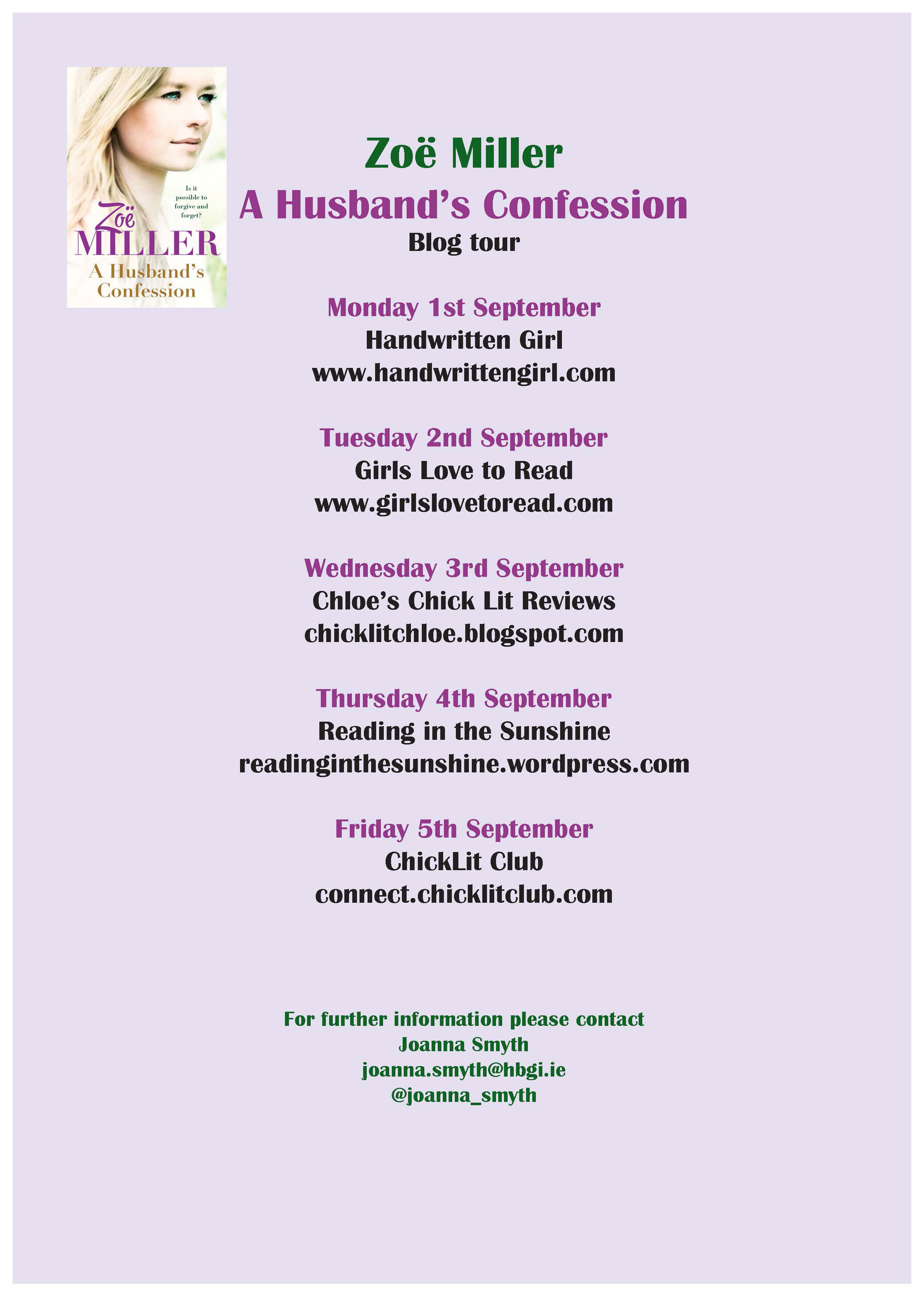 The Husband's Confession Book Tour